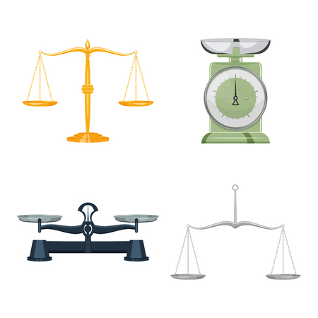 Antique scales set vector illustration isolated on a wite backdrop