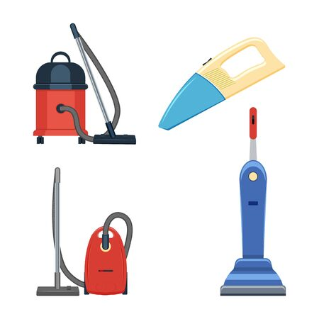 hoover: vacuum cleaner set vector illustration isolated on a white backdrop Illustration