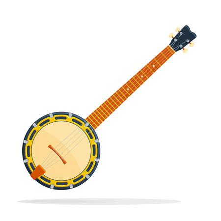 the resonator: Musical instrument Banjo vector illustration isolated on a white backdrop Illustration