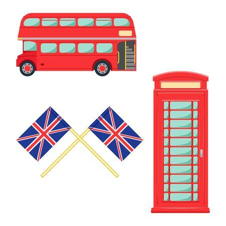 London symbol set. lindon telephone vector illustration isolated on a white backdrop