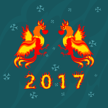 Two Fire Rooster, symbol of 2017 on the Chinese calendar.