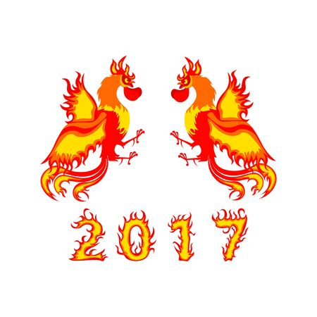 Rooster design Chinese New Year 2017 symbol.