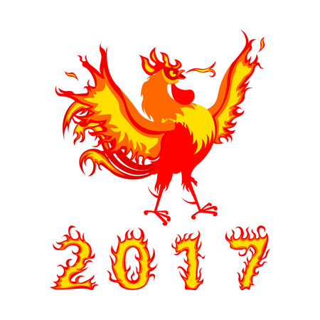 Cartoon fire rooster Vector illustration 2017 New year symbol. Cartoon cock. Isolated on a white background