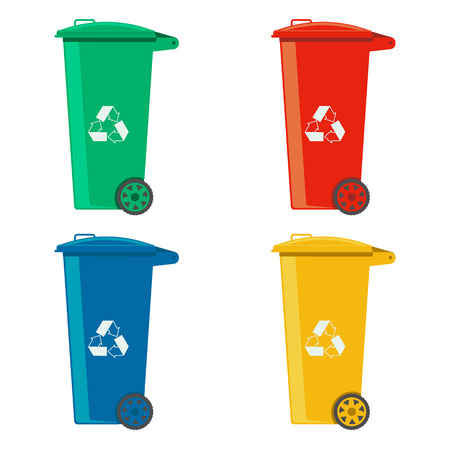 rubbish cans different colored recycle bins vector illustration isolated on white background Illustration