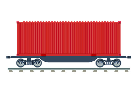 Contayner Cargo Wagon vector illustration isolated on a white background Illustration