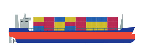 Cargo ship or container vector ilustration on white background