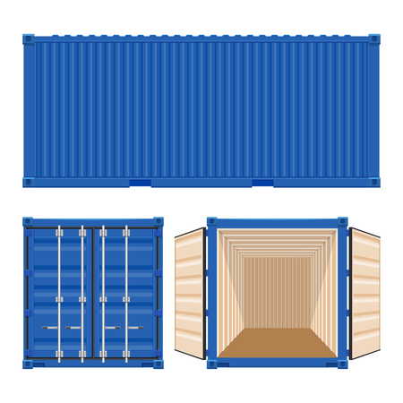 白い背景に分離された出荷貨物コンテナー ベクトル図  イラスト・ベクター素材