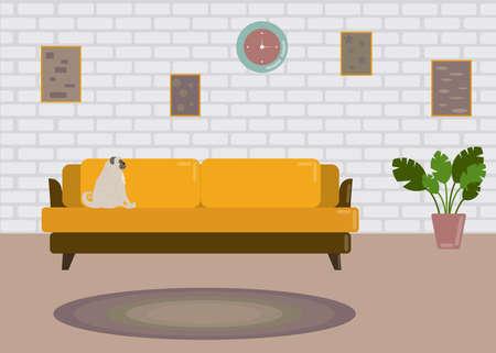 Flat style vector illustration ,living room 向量圖像