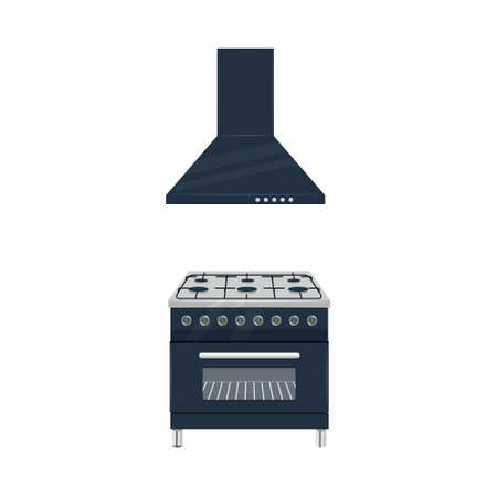 Black gas stove and extractor hood cooker flat vector illustration isolated on a white background Vecteurs