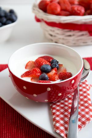 edel: Fresh strawberries with yoghurt Stock Photo