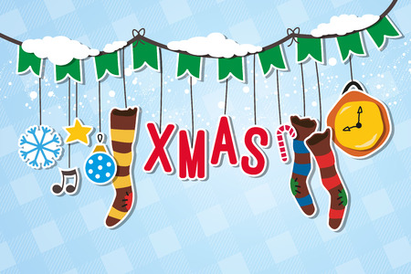 Christmas garland decorated with XMAS hanger Vector