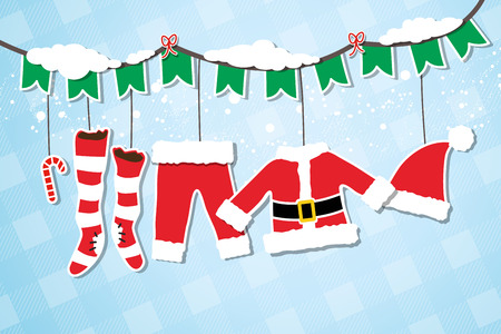 Santa Claus costume hanging on the clothesline Illustration