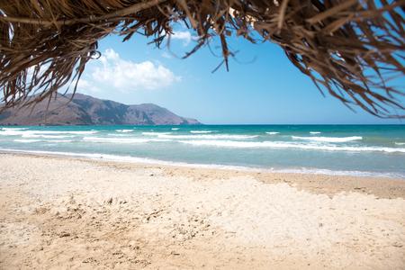 Mooi uitzicht op het strand in Kreta Stockfoto