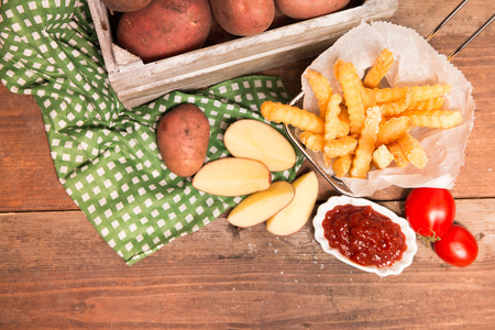 French fries from fresh potatoes with ketchup Reklamní fotografie