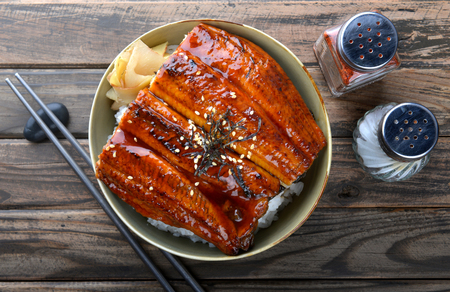 Japanese eel grilled with rice or Unagi don set on plate in Japanese style with studio lighting. 版權商用圖片