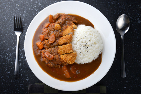 Rice with deep fried pork and curry in Japanese style or katsu kare in white  plate ready to eat. Banco de Imagens - 81650792
