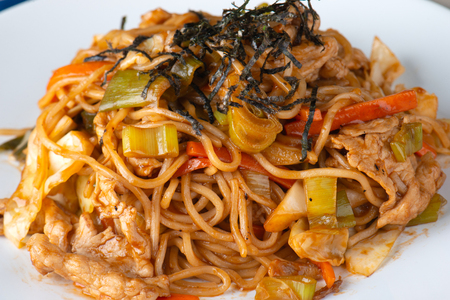 Yakisoba or noodle cooking with sauce in Japanese style food.