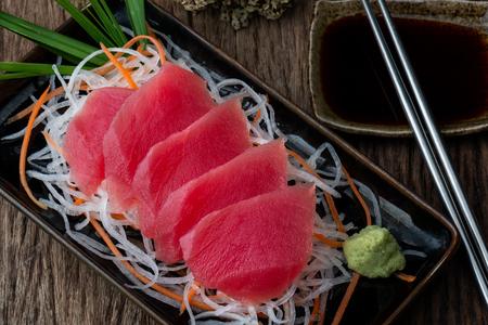 Tuna sashimi blue fin tuna slice Japanese style serve.