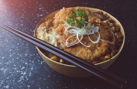 Rice cup with deep fried pork in Japanese style name katsudon set in grey tone color applied. Stock fotó