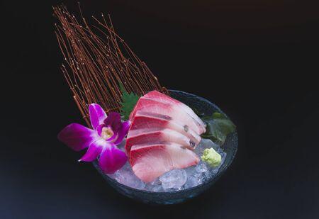 Raw Yellow tail fish Japanese dish Archivio Fotografico
