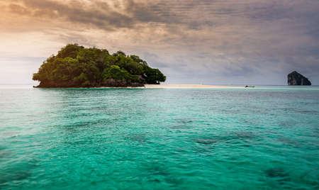Andaman sea  island  with morning sun low lighting and dark shadow. Archivio Fotografico