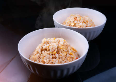 Japanese fry rice cup teppanyaki style with indoor studio lighting. Archivio Fotografico