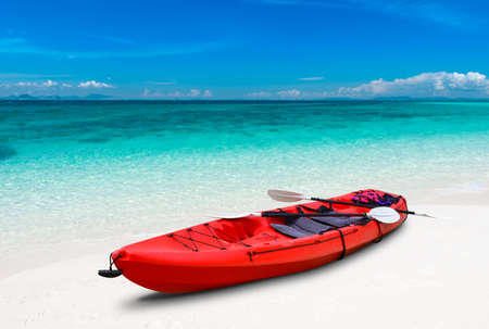 Blue sea beach and kayak boat with outdoor sun lighting.