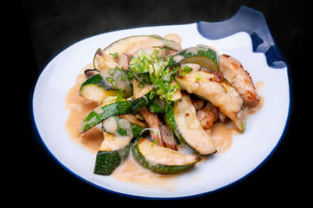 zucchini fried with miso sauce in Japanese style.