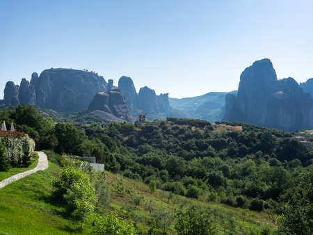 Panoramic view of Meteora rocks on a clear summer day