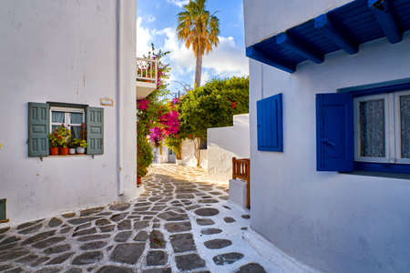 Beautiful traditional streets of Greek island towns. Whitewashed houses, bougainvillea in blossom, flower pots, cobblestone pavement. Mykonos, Greece
