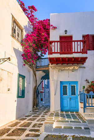 Traditional narrow streets, beautiful alleyways of Greek island towns. Bougainvillea, white houses, colorful balconies and doors. Mykonos, Greece Archivio Fotografico
