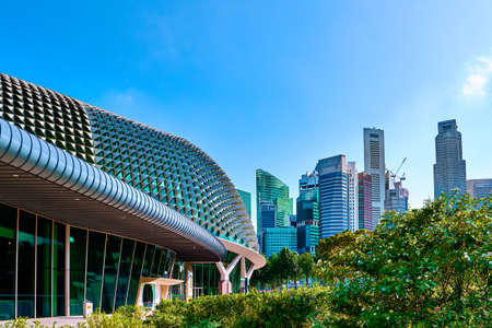 Cityscape of Singapore. Esplanade center, Theaters on the Bay, Central Business District on sunny day. Great architecture, unique skyline