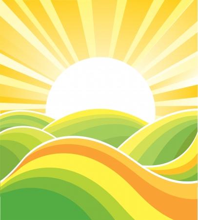 Landscape with yellow sun nature background. Summer illustration Stock Illustratie