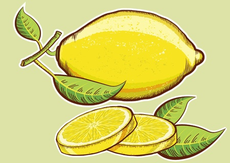 Lemons with green leaves