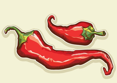 Red hot peppers isolated for design. Illustration