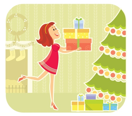 NIce girl with presents boxes in christmas day. Stock Vector - 18600186
