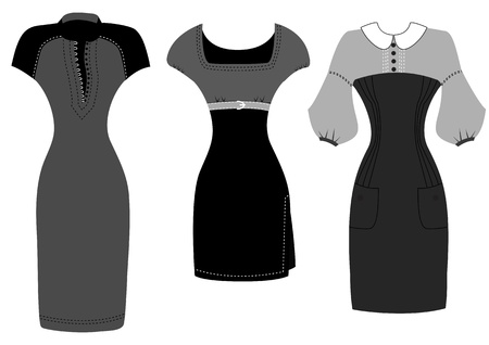 Dresses isolated on white for design black clothes Illustration