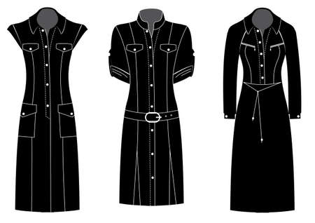 Woman dresses black silhouettes of clothes isolated on white background