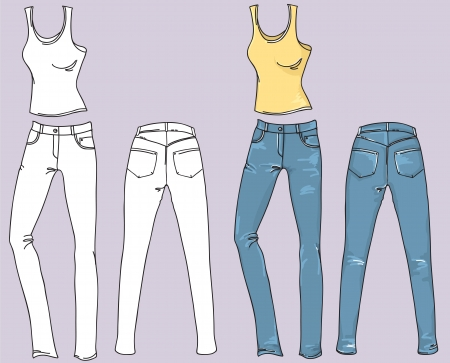 Woman jeans and top fashion clothes isolated