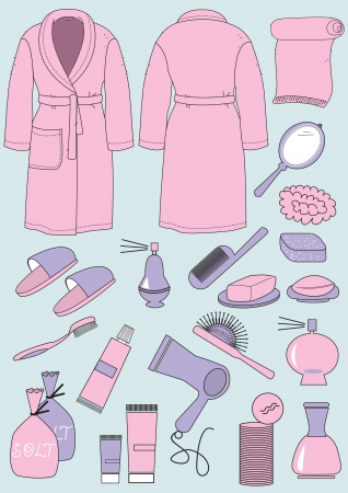 Bathrobe and objects for bathroom. clothes and cosmetics isolated  Illustration