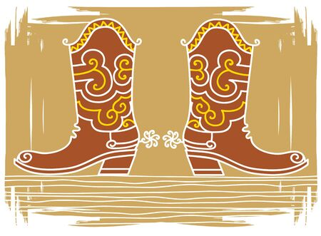 cowboy boots: color illustration of western shoes .