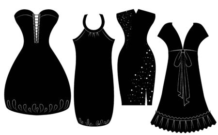black fashion model: Party dresses for woman isolated on white. black silhouette Illustration