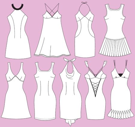 set of collection woman dresses isolated for design Illustration