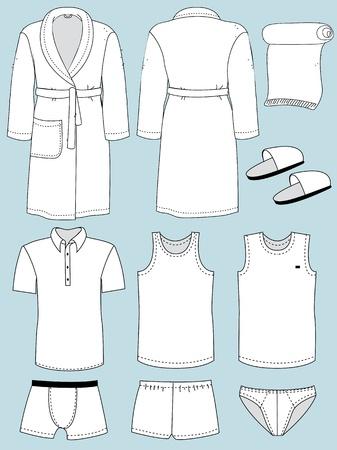 white underwear: underwear for man and bathroom isolated Illustration