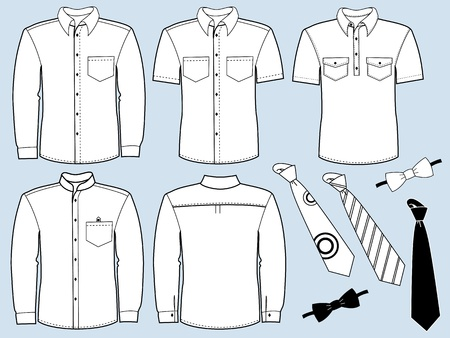 white shirt: clothes special for work isolated for design Illustration