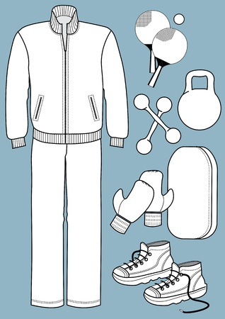 Sport equipments and sport clothes for man isolated for design Stock Vector - 18639268