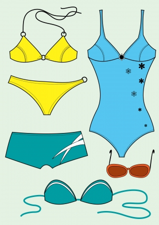 Swimsuits for woman Clothes isolated for design
