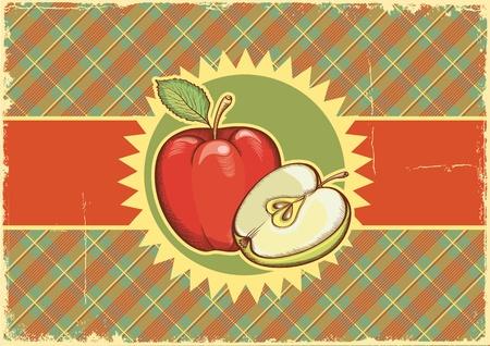 old fashioned vegetables: Apples Vintage label on old paper background texture