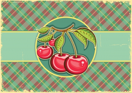 Cherries background vintage label on old paper Illustration