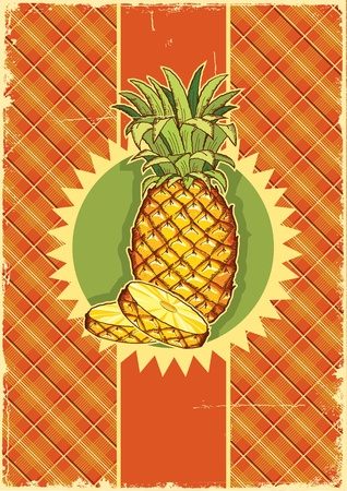 Pineapple fruit on vintage label background on old paper